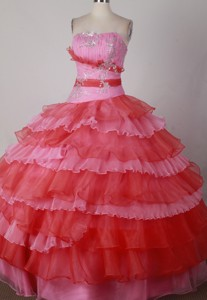 Modest Ball Gown Strapless Floor-length Colorful Quinceanera Dress