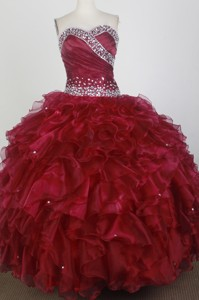 Brand New Ball Gown Strapless Floor-length Wine Red Quinceanera Dress