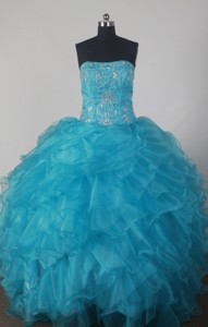 Fashionable Strapless Floor-length Bluequinceanera Dress