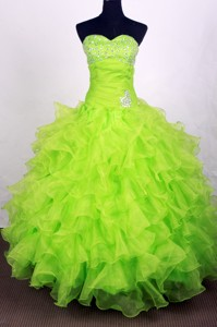 Exclusive Ball Gown Sweetheart Floor-length Lime Green Quinceanera Dress