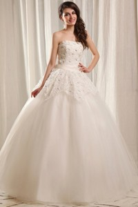 Strapless Ball Gown Floor-length Wedding Dress with Beading and Flowers