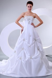 Sweetheart Court Train Beading Taffeta Wedding Dress With Lace Up