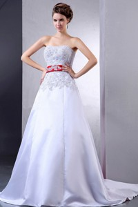 Luxurious Wedding Dress With Appliques And Red Sash Court Train For Custom Made