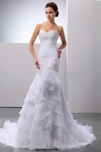 Mermaid / Trumpet Organza Beading and Ruffles Sweetheart Court Train Wedding Dress