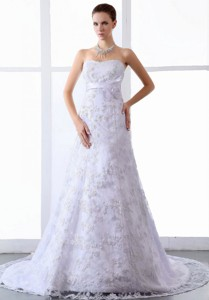 Wedding Dress Lace Tulle Brush Sweep Train Strapless