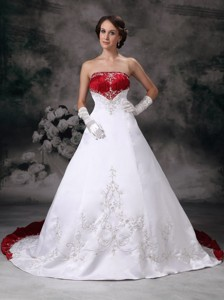 New Strapless Court Train Satin Embroidery Wedding Dress