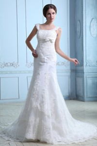 Discount Mermaid Square Court Train Satin Lace Wedding Dress