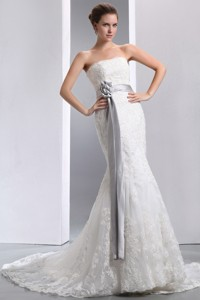 Luxurious Mermaid Strapless Court Train Taffeta and Lace Sash Wedding Dress