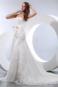 Fashionable Mermaid Strapless Court Train Satin and Lace Bow Wedding Dress