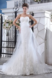Lovely Mermaid Sweetheart Court Train Tulle Lace Wedding Dress