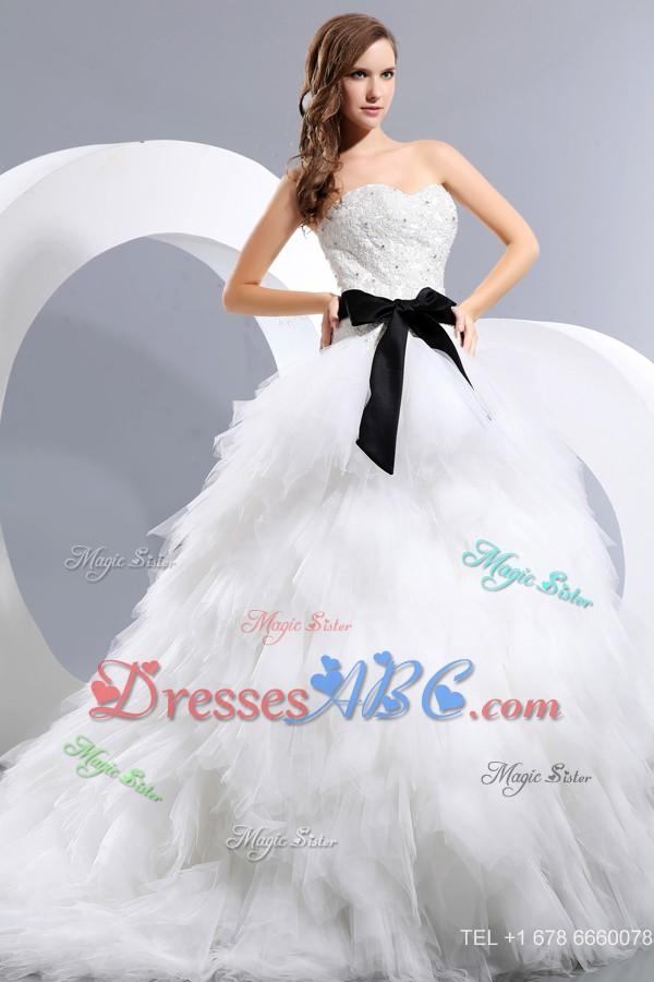 3bc80da54ec Beautiful Sweetheart Chapel Train Taffeta And Tulle Appliques And Bow  Wedding Dress