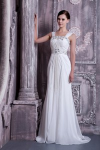 Fashionable Empire Straps Brush Train Beading Chiffon Wedding Dress