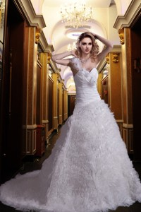 Beautiful Princess One Shoulder Court Train Beading Wedding Dress