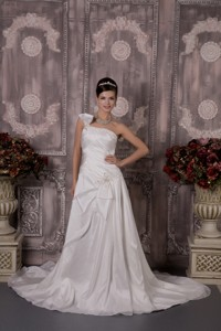 Luxurious One Shoulder Court Train Elastic Woven Satin Appliques Wedding Dress