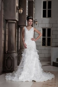 Sweet Column V-neck Court Train Oragnza Ruch and Ruffled Layers Wedding Dress