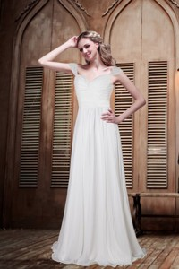 Romantic Empire Cap Sleeves Beading Wedding Dress