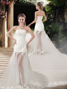 Popular See Through Empire Strapless Appliques Wedding Dress With Court Train