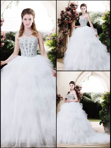 Best Selling Strapless Wedding Dress With Beading And Ruffles