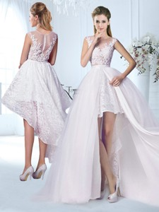 Lovely Detachable Skirt Wedding Dress with Appliques and Lace