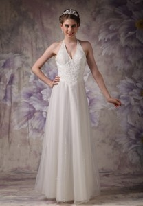 Perfect Column Halter Floor-length Tulle Beading Wedding Dress