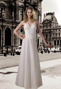 Column Halter Wedding Dress with Beading and Lace