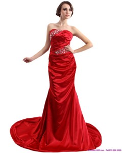Popular Ruching And Beading Prom Dress With Brush Train