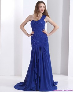 Pretty One Shoulder Prom Dress With Ruching And Beading