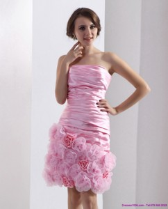 Lovely Strapless Ruching Mini Length Prom Dress In Baby Pink