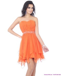 Romantic Sweetheart Beading And Ruching Prom Dress In Orange