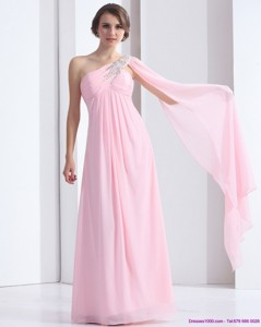 Perfect One Shoulder Baby Pink Prom Dress With Ruching And Beading