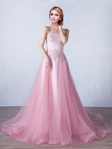 Discount Strapless Applique Tulle Prom Dress with Brush Train