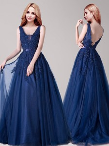 Inexpensive V Neck Applique and Belted Prom Dress in Navy Blue