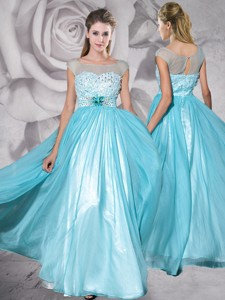 See Through Bateau Aquamarine Prom Dress with Appliques and Beading
