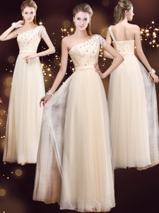 Elegant One Shoulder Prom Dress With Appliques And Beading