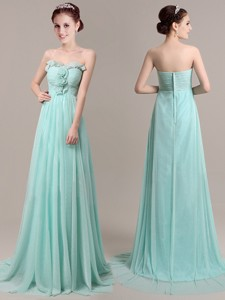 Exquisite Hand Made Flowers and Beaded Prom Dress in Apple Green