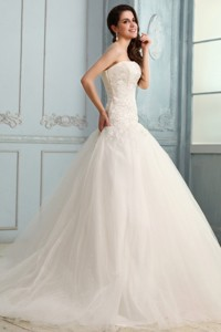 Strapless Appliques Decorate Bodice Sweep Train Wedding Dress