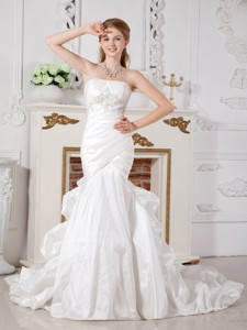 Perfect Mermaid Strapless Court Train Taffeta Appliques Wedding Dress