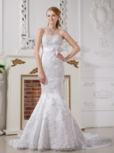 Luxurious Mermaid Strapless Court Train Lace Sash Wedding Dress