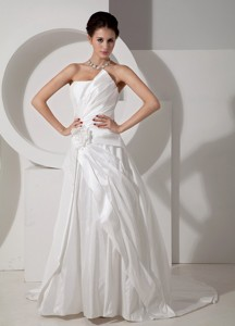 Modest Strapless Court Train Satin Hand Made Flower Wedding Dress