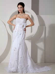 Elegant Mermaid Strapless Brush Train Lace Sash Wedding Dress