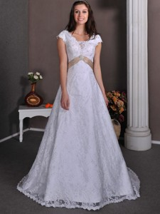 Pretty V-neck Court Train Taffeta And Lace Beading Wedding Dress