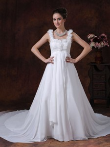 Handle-made Straps Chapel Train Chiffon Wedding Dress