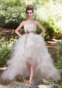 Sweet Princess High Low Belt Wedding Dress with Ruffles
