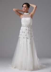 High-neck Column Wedding Dress Lace Beading Brush Train In Avalon California
