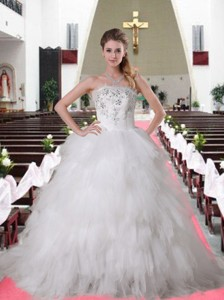 Elegant Brush Train Strapless Ruffles And Ruffles Wedding Dress