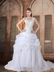 Beautiful A Line Strapless Beading Wedding Dress