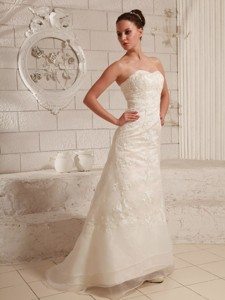 Sweetheart Lace And Organza Wedding Dress For Custom Made Brush Train