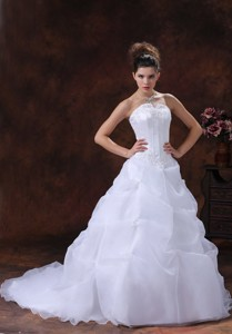 Custom Made Organza For Wedding Dress With Appliques Strapless