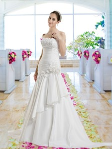 Cheap Hand Made Flowers Bridal Dress With Appliques