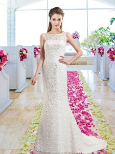 Luxurious Column Scoop Court Train Bridal Gowns with Lace